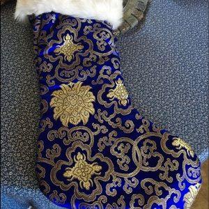 "Other - NEW 21"" COBALT BLUE SATIN CHRISTMAS STOCKING GOLD"